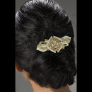 Apurva Pearls Silver Plated Brown Austrian Stone Barrette Hair Clip