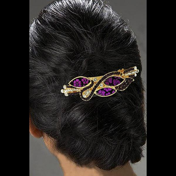 Apurva Pearls Purple Austrian Stone Barrette Hair Clip