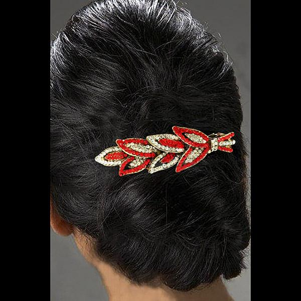 Apurva Pearls Red Austrian Stone Barrette Hair Clip