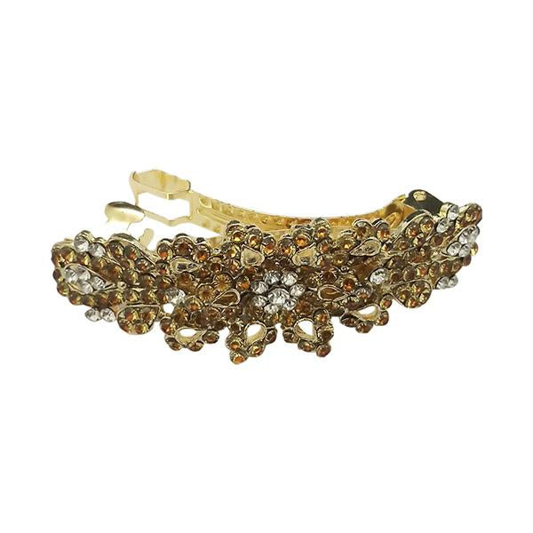 Apurva Pearls Gold Plated Brown Austrian Stone Barrette Hair Clip