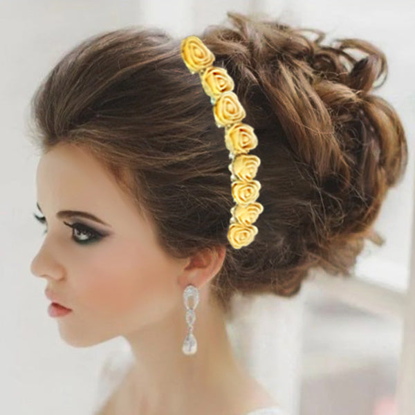 Apurva Pearls Yellow Floral Hair Brooch
