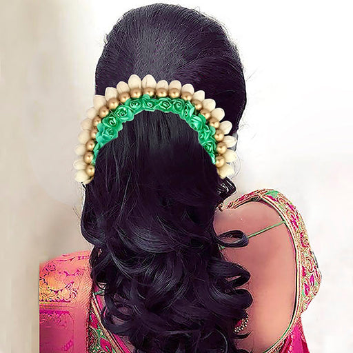 Apurva Pearls White Green Floral Hair Brooch