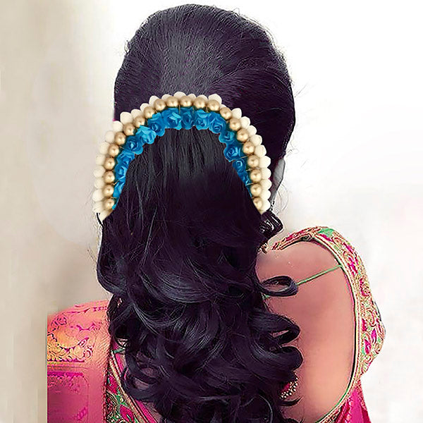 Apurva Pearls White Blue Floral Hair Brooch