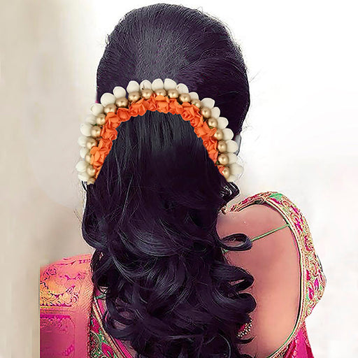 Apurva Pearls White Orange Floral Hair Brooch