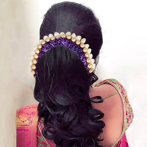 Apurva Pearls White Purple Floral Hair Brooch
