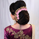 Apurva Pearls Pink Floral Hair Brooch