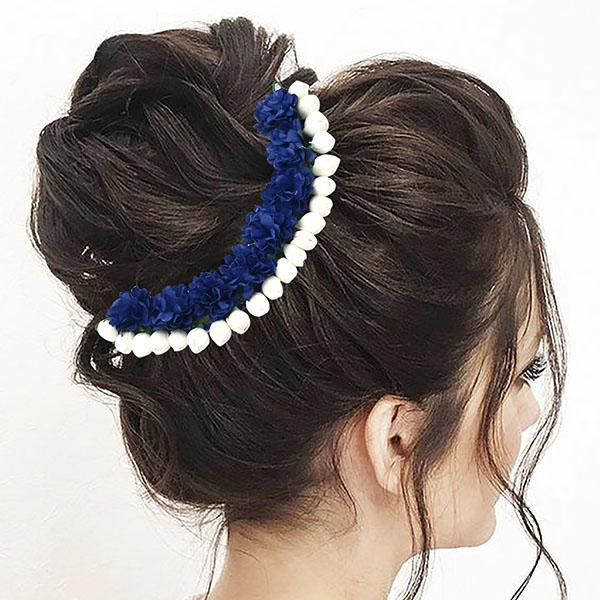 Apurva Pearls Blue Floral Hair Brooch - 1505406D