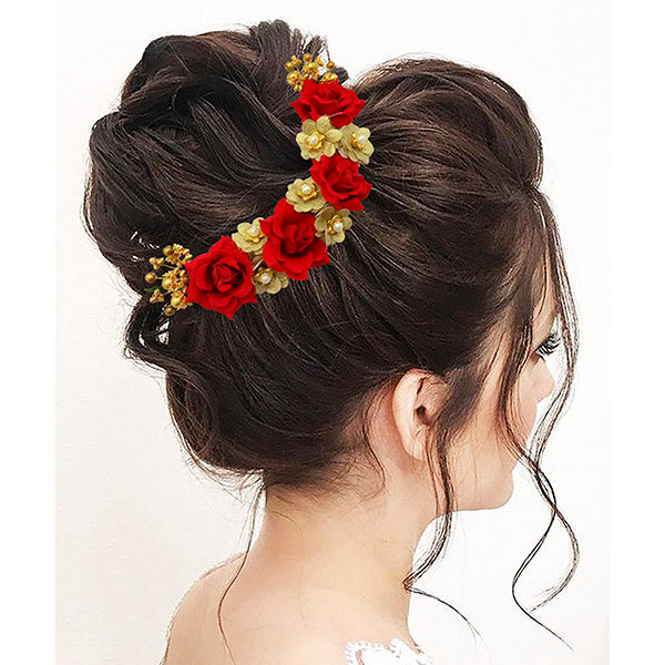 Apurva Pearls Red And Gold Floral Hair Brooch