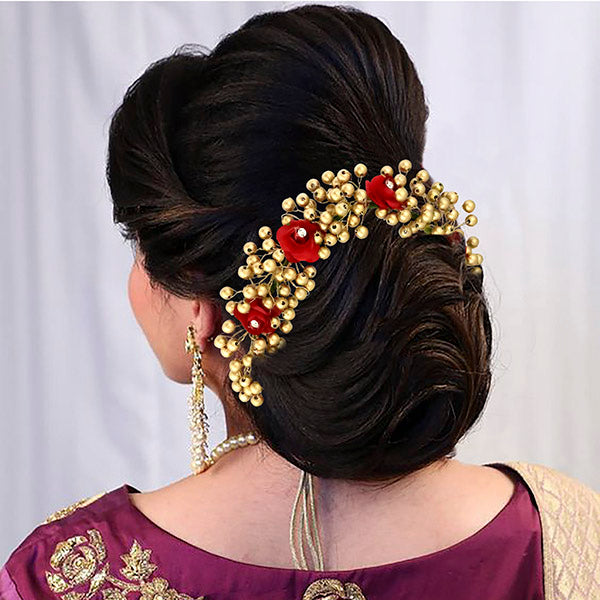 Apurva Pearls Austrian Stone And Pearl Floral Hair Brooch