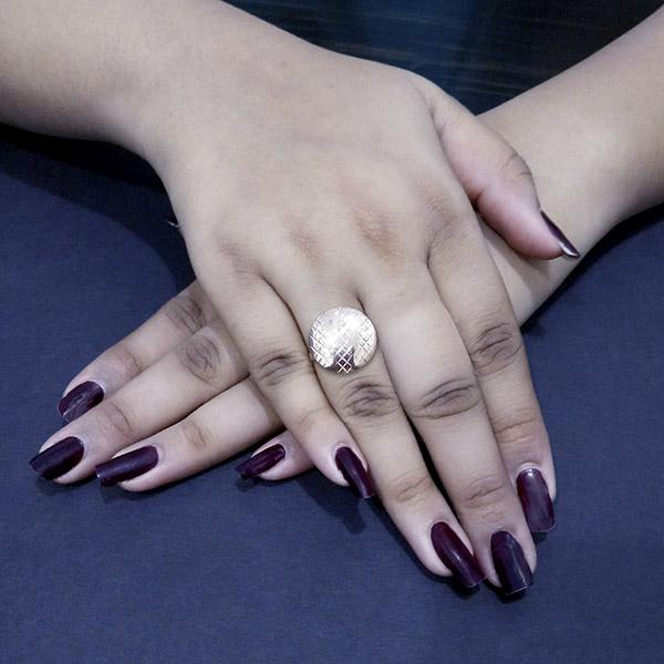 Kriaa Rose Gold Plated Round Shaped Adjustble Finger Ring  - 1505561B