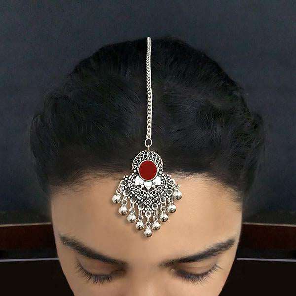 Jeweljunk Red Oxidised Silver Plated Maang Tikka - 1505607A