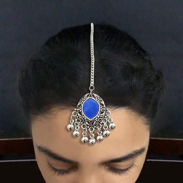 Jeweljunk Blue Oxidised Silver Plated Maang Tikka - 1505614