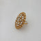 Kriaa Gold Plated White Austrian Stone Adjustable Finger Ring - 1505902