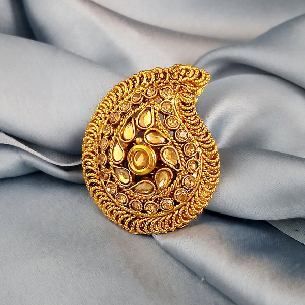 Kriaa Austrian Stone Gold Plated Adjustable Ring