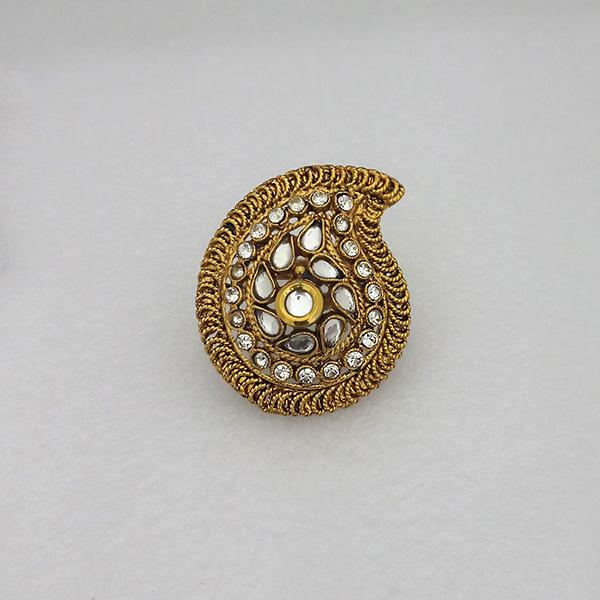 Kriaa Gold Plated White Austrian Stone Adjustable Finger Ring - 1505904