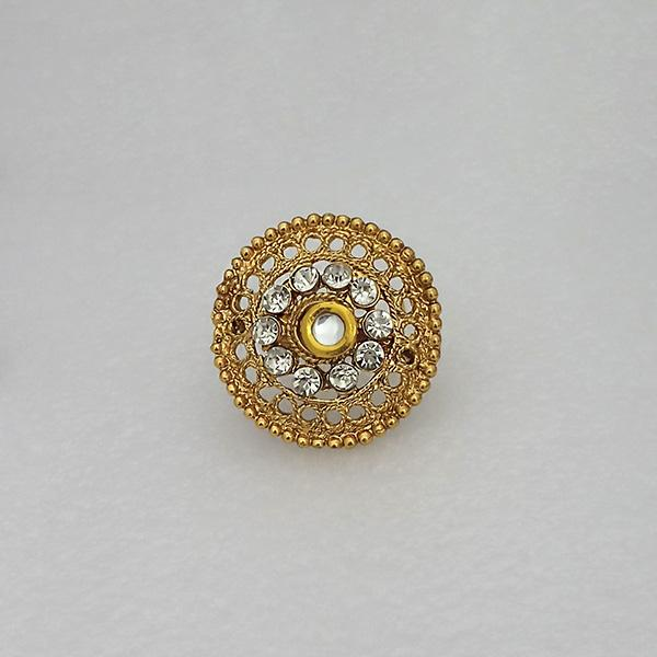 Kriaa Gold Plated White Austrian Stone Adjustable Finger Ring - 1505907A
