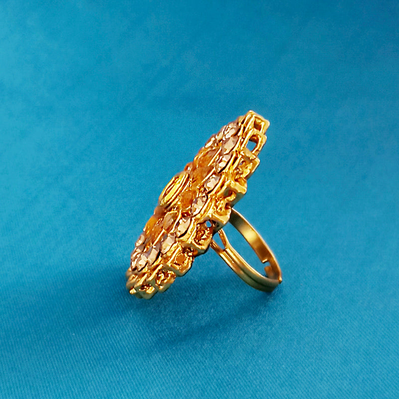 Kriaa Gold Plated White Austrian Stone Adjustable Finger Ring