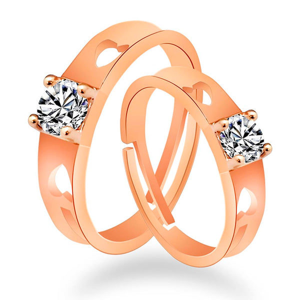 Urbana Rose Gold Plated Crystal Stone Couples Ring