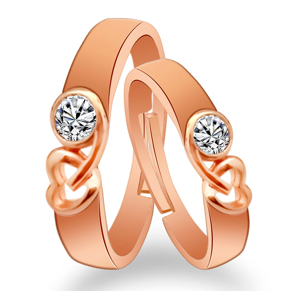 Urbana Rose Gold Plated Solitaire Couple Ring Set With Crystal Stone