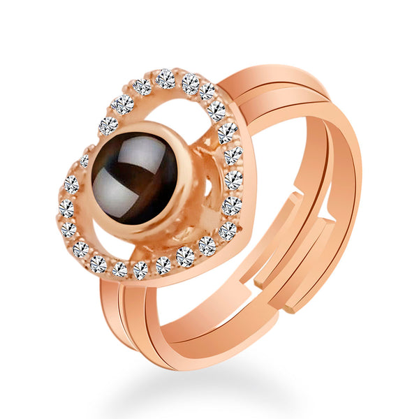 Urbana Rose Gold Plated Reflecting I love You In 100 Languages 2 In 1 Rings