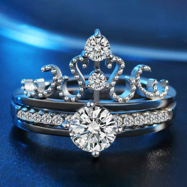Urbana Rhodium Plated 2 In 1 Adjustable Crown Rings