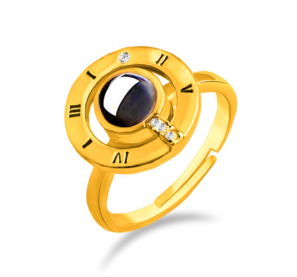 Urbana Gold Plated Single Adjustable Ring Reflecting I love you In 100 Languages