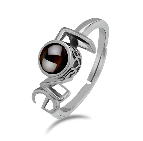 Urbana Silver Plated Single Adjustable Ring Reflecting I love you In 100 Languages
