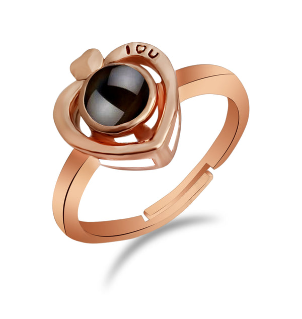 Urbana Heart Shaped Copper Plated single Adjustable Ring Reflecting I love you In 100 Languages