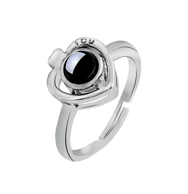 Urbana Heart Shaped Silver Plated Single Adjustable Ring Reflecting I love you In 100 Languages