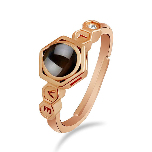 Urbana Rose Gold Plated single Adjustable Ring Reflecting I love you In 100 Languages-1506356