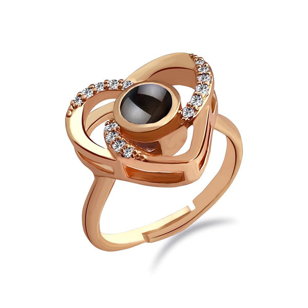 Urbana Rose Gold Plated single Adjustable Ring Reflecting I love you In 100 Languages-1506359A