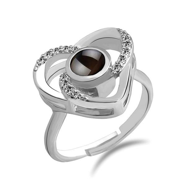Urbana Silver Plated single Adjustable Ring Reflecting I love you In 100 Languages -1506359