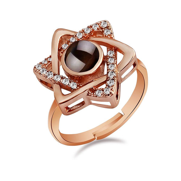 Urbana Rose Gold Plated single Adjustable Ring Reflecting I love you In 100 Languages-1506361A