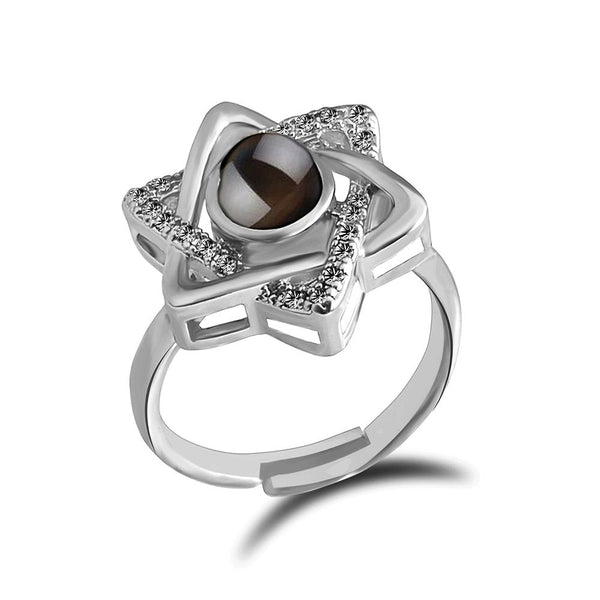 Urbana Silver Plated single Adjustable Ring Reflecting I love you In 100 Languages -1506361
