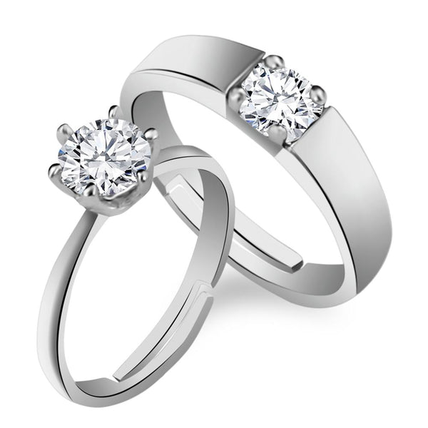 Urbana Rhodium Plated Solitaire Couple Ring Set With Crystal Stone - 1506365
