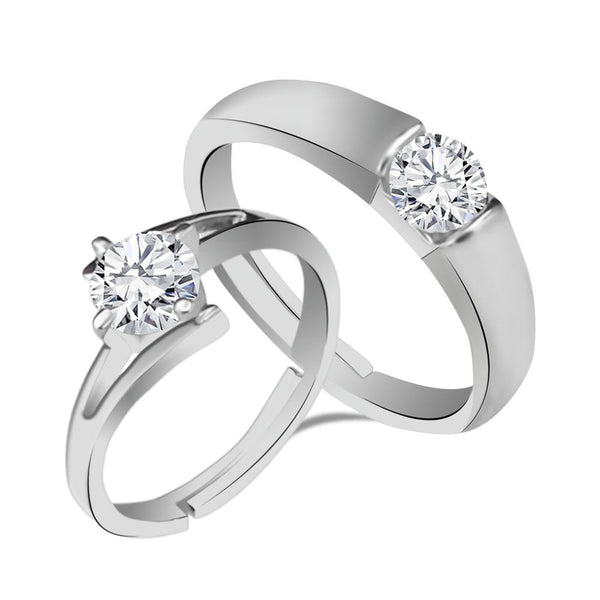 Urbana Rhodium Plated Solitaire Couple Ring Set With Crystal Stone - 1506366