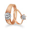 Urbana Rose Gold Solitaire Couple Ring Set With Crystal Stone - 1506367