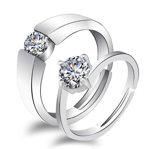 Urbana Rhodium Plated Solitaire Couple Ring Set With Crystal Stone