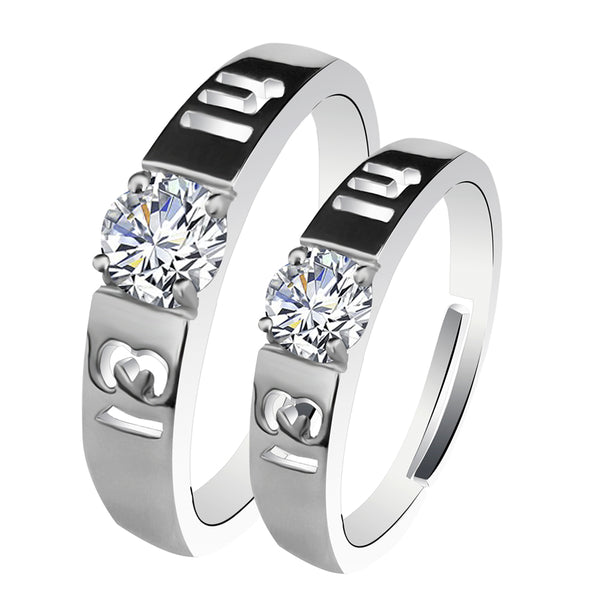 Urbana Rhodium Plated Solitaire Couple Ring Set With Crystal Stone - 1506372