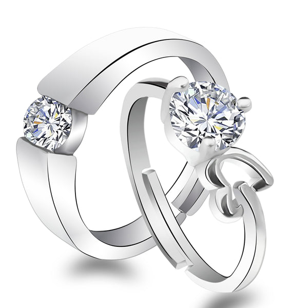 Urbana Rhodium Plated Solitaire Couple Ring Set With Crystal Stone - 1506373