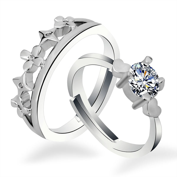 Urbana Rhodium Plated Solitaire Couple Ring Set With Crystal Stone - 1506388