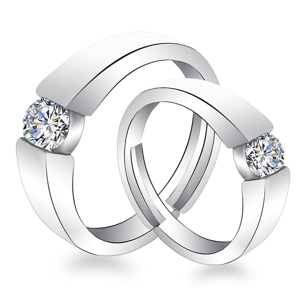 Urbana Rhodium Plated Solitaire Couple Ring Set With Crystal Stone - 1506390