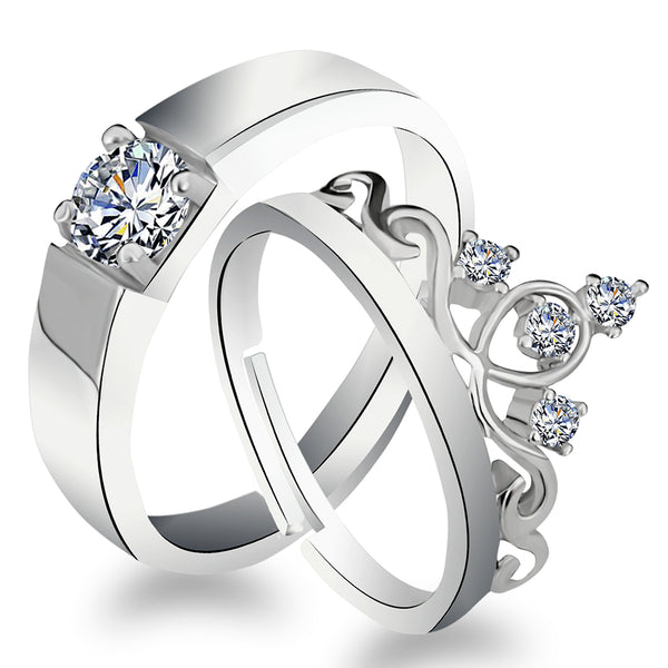 Urbana Rhodium Plated Solitaire Couple Ring Set With Crystal Stone - 1506391