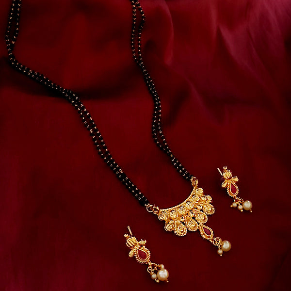 Kriaa Gold Plated Pearl Drop Mangalsutra With Earrings