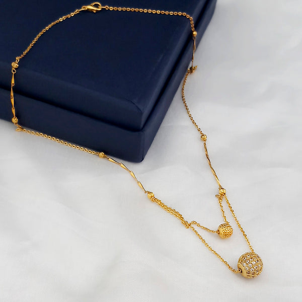 Kriaa White Austrian Stone Gold Plated Chain Pendant