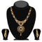 Kriaa Purple And Green Austrian Stone Necklace Set - 2100301-CL