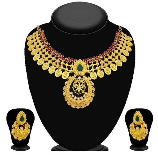 Kriaa Pota Stone Gold Plated Necklace Set - 2105402 - ES