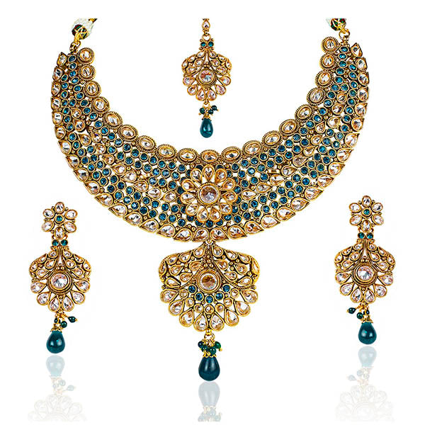 Mithya Kundan Gold Plated Stone Necklace Set With Maang Tikka