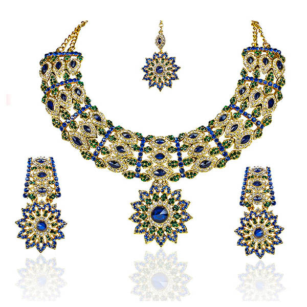 Mithya Austrian Stone Necklace Set with Maang Tikka