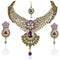 Mithya Gold Plated Stone Kundan Necklace Set With Maang Tikka
